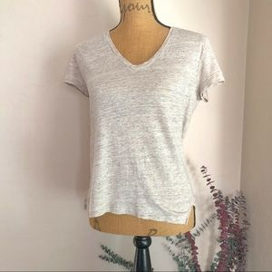{LOU & GREY} Sandy V-neck tee 100% linen {S}